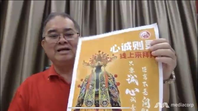 就道教抗议举措 道总会长陈添来BBM(L)接受CNA采访